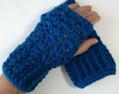 Wrist Warmers Fingerless Gloves Crocheted Sapphire Blue
