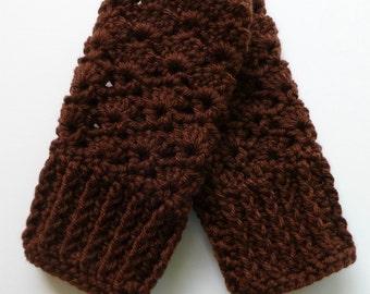 Brown Fingerless Gloves Brown Wrist Warmers Chocolate Brown Handmade Crochet