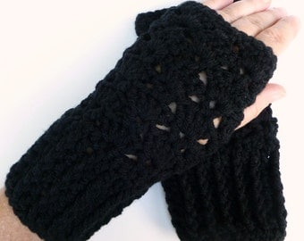 Black Fingerless Gloves Black Wrist Warmers Handmade Crochet