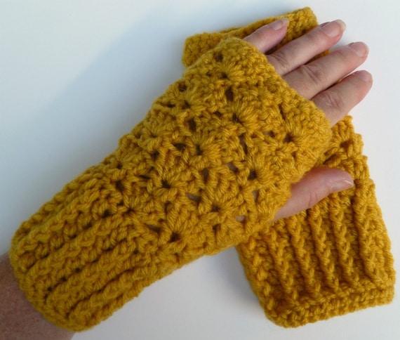 Wrist Warmers Fingerless Gloves Crocheted Mustard Yellow
