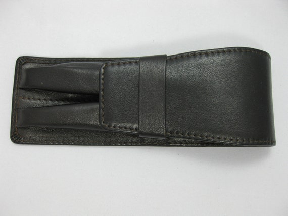 Genuine dark brown leather pen, pencil case