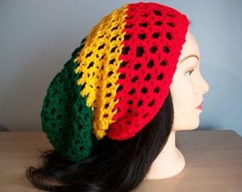 Rasta Hat Slouchy Crocheted Tam Beanie w/drawstring
