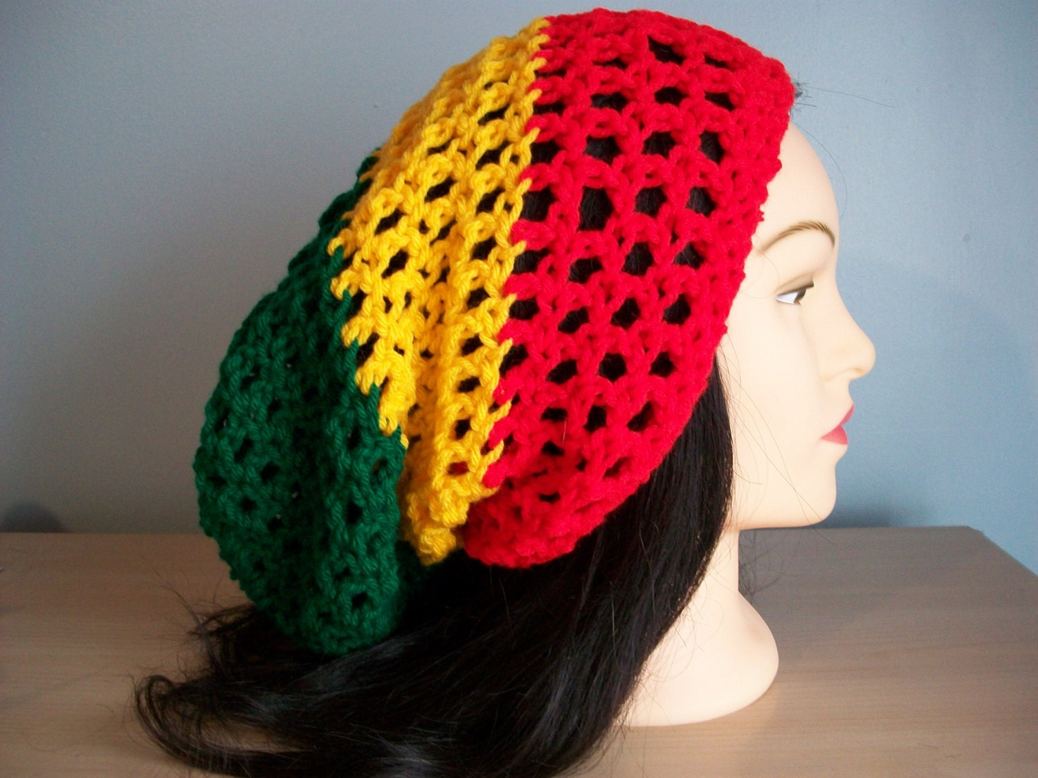 Free Crochet Pattern For Tam Hat : Rasta Hat Slouchy Crocheted Tam Beanie w/drawstring