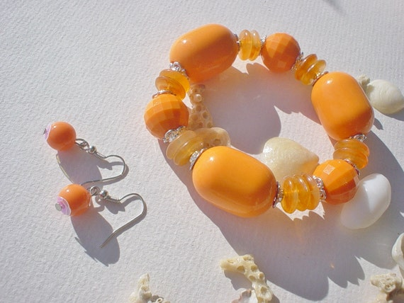 Orange Beach  /  Bracelet and Matching Earrings