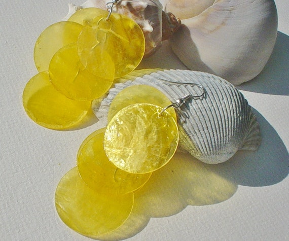 Lemon Yellow Capiz Shell Chandelier Earrings FREE shipping with another item