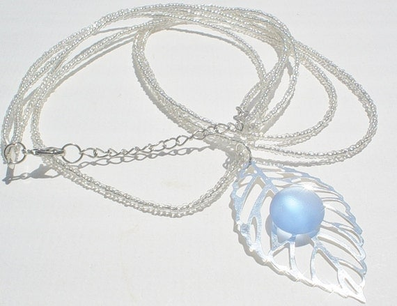 SALE / Ocean Blue Seaglass and Seed Beads with Filigree Leaf  Necklace