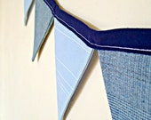 "SUMMER SALE- A Modern Gent - Double Sided Fabric Bunting - 62"" / 13 Flags"