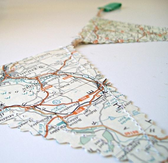 Vintage British Road Map Banner - 1 mtr