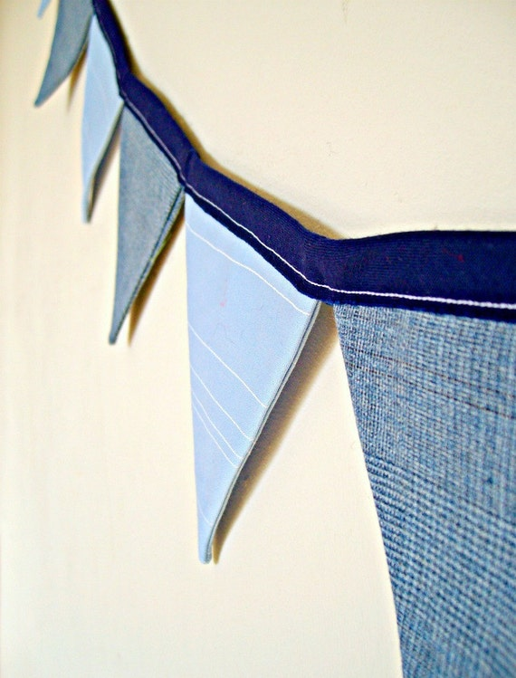 """SUMMER SALE- A Modern Gent - Double Sided Fabric Bunting - 62"""" / 13 Flags"""