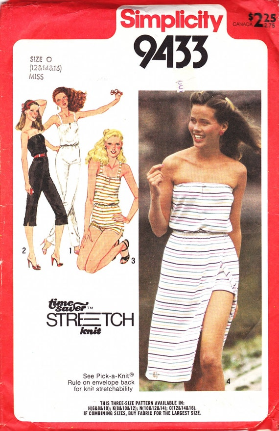 80's Vintage Simplicity 9433 Pattern Strapless JUMPSUIT Front Wrap Skirt TANK TOP Bodice Spaghetti Straps12-16 UNcut