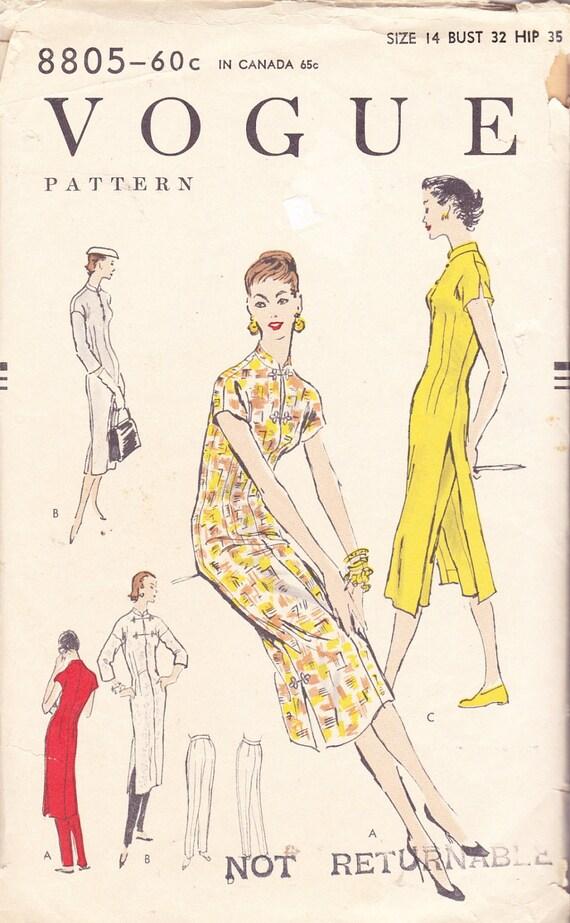Vintage 50's Vogue 8805 Women's Asian Style TUNIC DRESS & PANTS Sewing Pattern Mandarin Collar Side Slit Opening