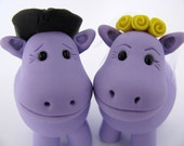 Western wedding cake topper, Hippo love, cowboy cake topper, custom wedding cake topper
