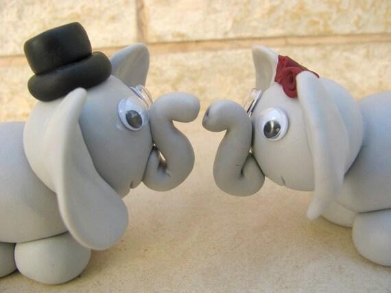 Elephant Love Custom Wedding Cake Topper Polymer Clay