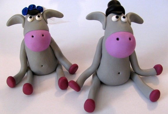 donkey love, unique wedding cake topper, bride and groom cake topper, polymer clay