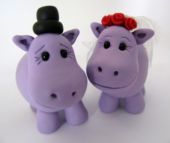 Hippo love - custom  wedding cake topper - polymer clay