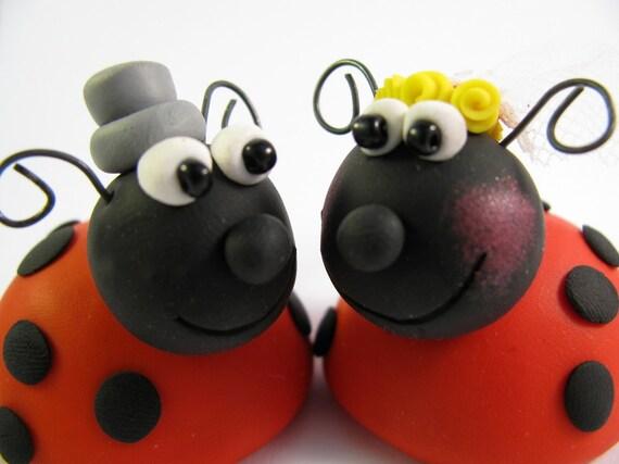 Custom wedding cake topper, ladybug, bride and groom, polymer clay