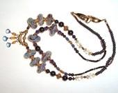 Swirls of Blue Lampwork and Gemstone Beads
