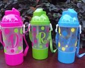 Personalized Polka Dot Water Bottle with Straw and snack cup