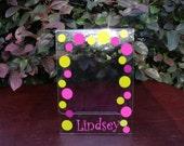 Personalized Polka Dot Acrylic Photo Frame 5 X 7n