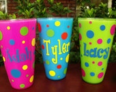 Personalized Polka Dot Acrylic Cup.Lime Green/Hot Pink/Blue