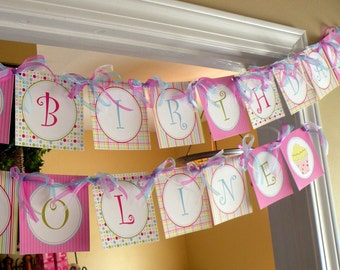 Cupcake Theme Party Happy Birthday Banner Girl DIY Printable