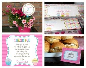 Cupcake Theme Birthday Mega Party Package Girl - DIY Printable