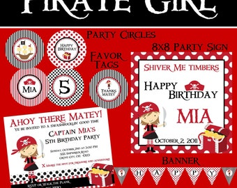 Pirate Mini Birthday Party Package - Girl DIY Printable