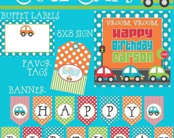 Cute Cars Big Birthday Party Package - Boy DIY Printable