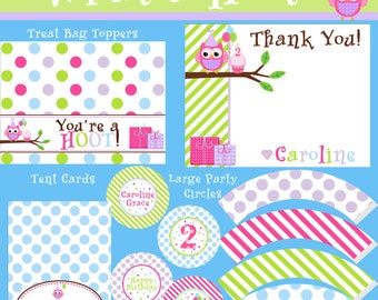 What a Hoot Big Party Package - Girl Birthday - PRINTABLE