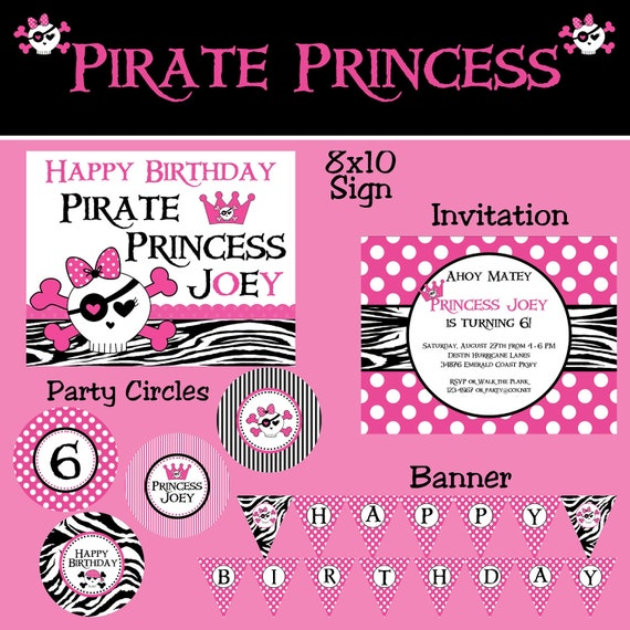 Pink Pirate Princess Party Package - Girl Birthday - PRINTABLE