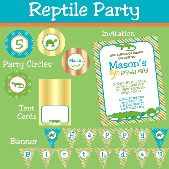 Reptile Snake Lizard Alligator Party Package Boy DIY