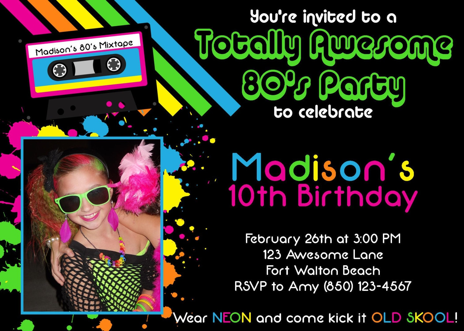 Awesome 80's 5x7 Party Invitation Girl Birthday
