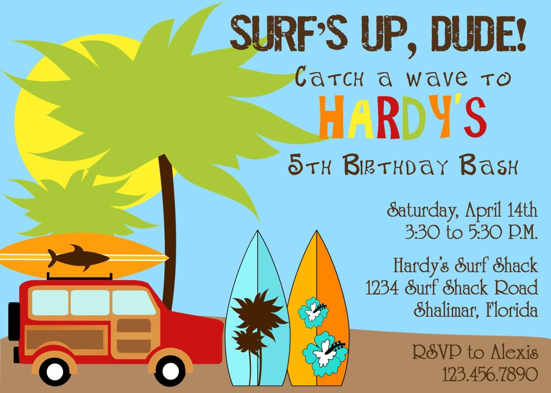 Surfer Dude Birthday Party Invitation Boy DIY Printable