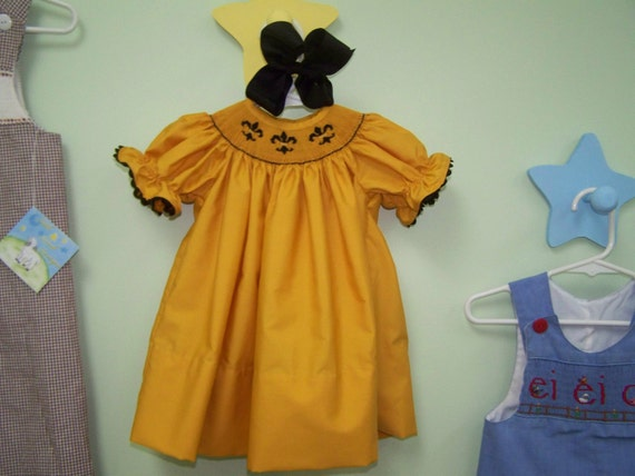 Saints Fleur De lis Smocked Bishop Dress