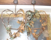Twin Doubled Hearts, Planters, Candle,lantern or vase holders, Rusty, Twig/Vine, shipping included in price.
