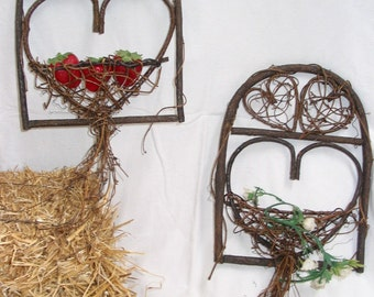 Heart Planters, Holders - set of two, rustic , shellacked grapevines for hanging on wall, hold silk or real flowers