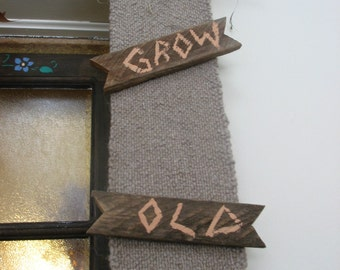 """Grow Old with Me""""  Barnboard and Burlap-knit wool, shipping incl., moss and twig with jute rope to suspend it from your wall"""