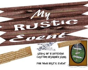 Five Custom Made Rustic Signs for your Wedding, Retreats, Reunions, Conferences, etc.