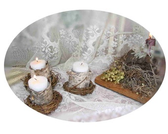 Tea Light Rustic Candle Holders for your rustic wedding or special event, wrapped with birchbark