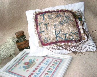 """Custom Ring Bearer's Pillow, part of the """"I Take Ewe"""" personalized line for Rustic special events, weddings, etc"""