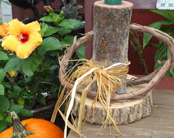 Cross-cut and Vine Log Candle, raffia bow, holds tea light or votive candle, very sturdy, rustic, primitive