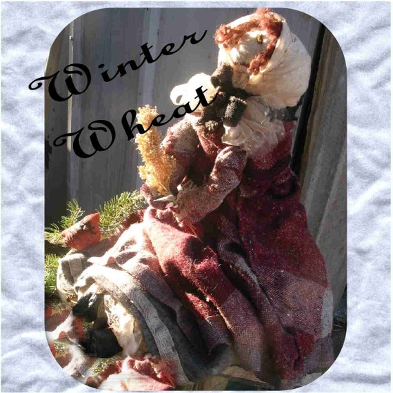Winter Wheat Primitive Doll - in heavy flannels, petticoats,