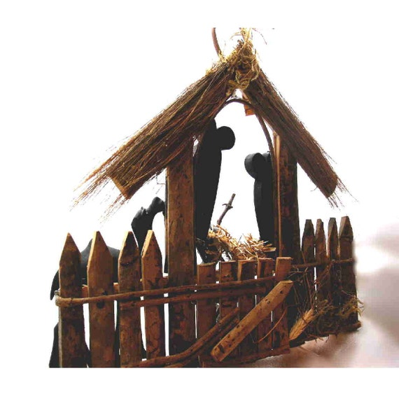 Nativity Scene Rustic With Silhouettes
