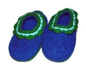 HANDMADE Crocheted Womans Slippers size large Blue Ladies Slippers
