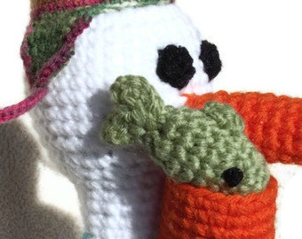 Crochet Stuffed Pelican with Fish