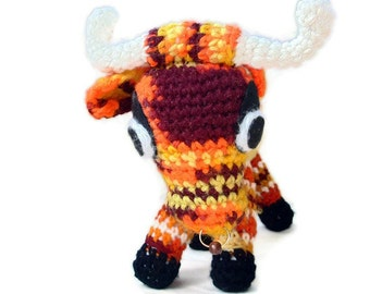 El Torro CROCHETED Bull // Mature Orange Stuffed Bull Animal // Crochet Bull Plushie //  Bull Amigurumi