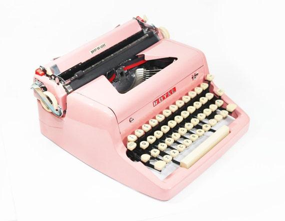 Vintage 1955 Bright Pink Royal Quiet De Luxe Manual Typewriter