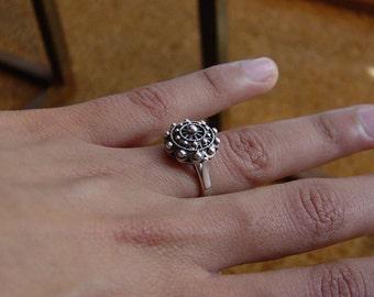 Authentic Charro Button Ring.  Sterling Silver 925 - Luis Méndez Artesanos.