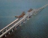 Sunshine Skyway Bridge Construction Postcard Florida 1960's