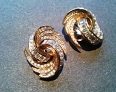 Atwood & Sawyer Rhinestone Earrings Vintage